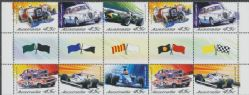 SG 2175a Centenary of Motor Racing in Australia and New Zealand gutter strip of 10 (AF1/353)